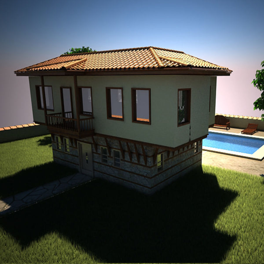 House With Swimming Pool royalty-free 3d model - Preview no. 11