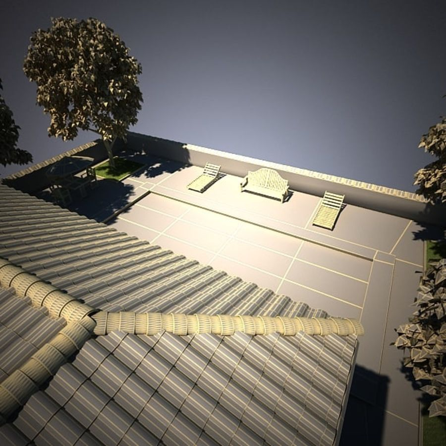 House With Swimming Pool royalty-free 3d model - Preview no. 20