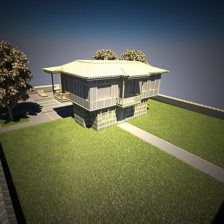 House With Swimming Pool royalty-free 3d model - Preview no. 16