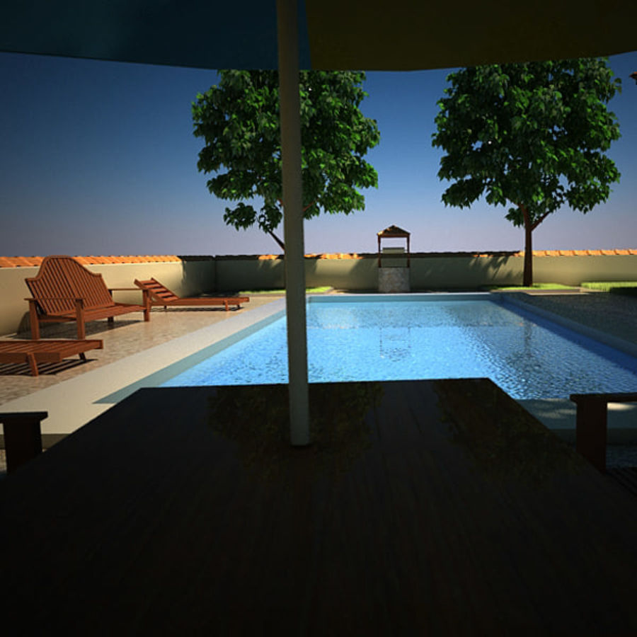 House With Swimming Pool royalty-free 3d model - Preview no. 14