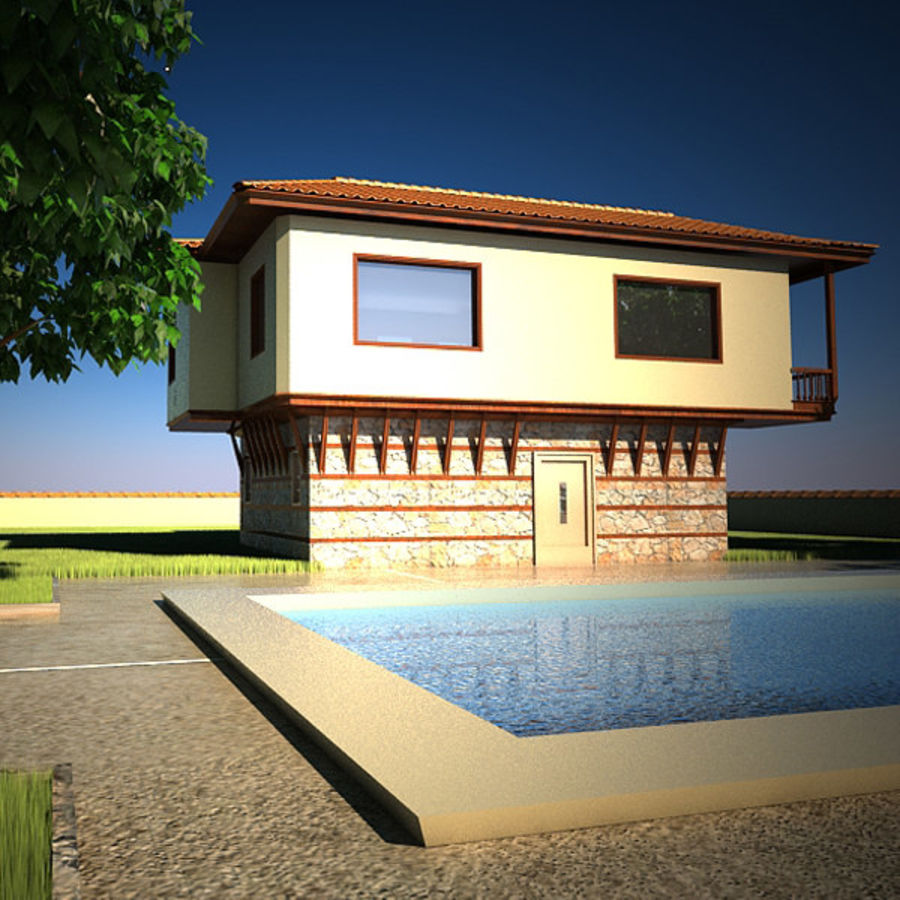 House With Swimming Pool royalty-free 3d model - Preview no. 2