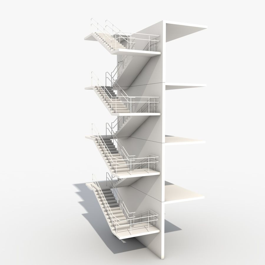 Emergency Stairs royalty-free 3d model - Preview no. 2