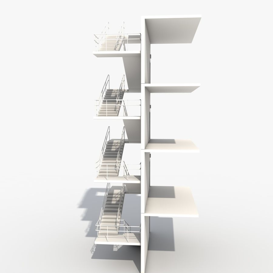 Emergency Stairs royalty-free 3d model - Preview no. 3
