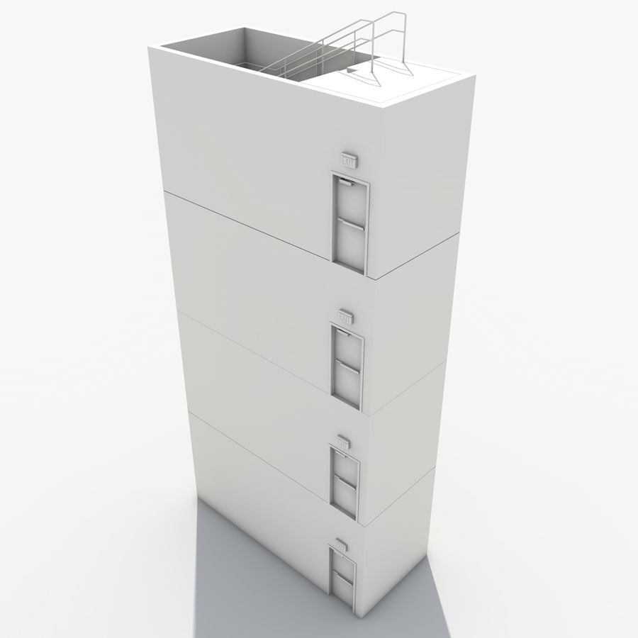 Emergency Stairs royalty-free 3d model - Preview no. 20