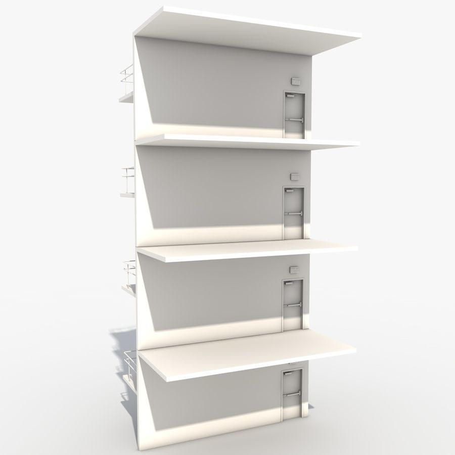 Emergency Stairs royalty-free 3d model - Preview no. 5