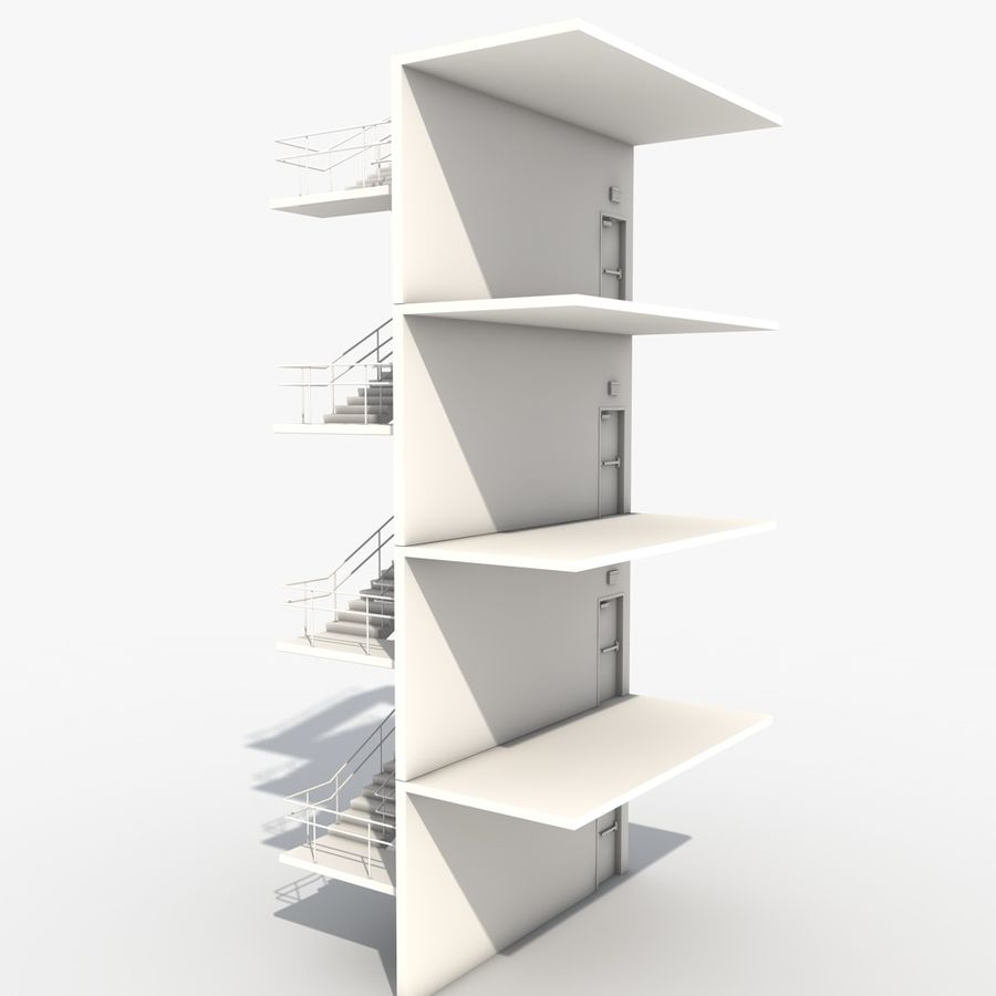 Emergency Stairs royalty-free 3d model - Preview no. 4