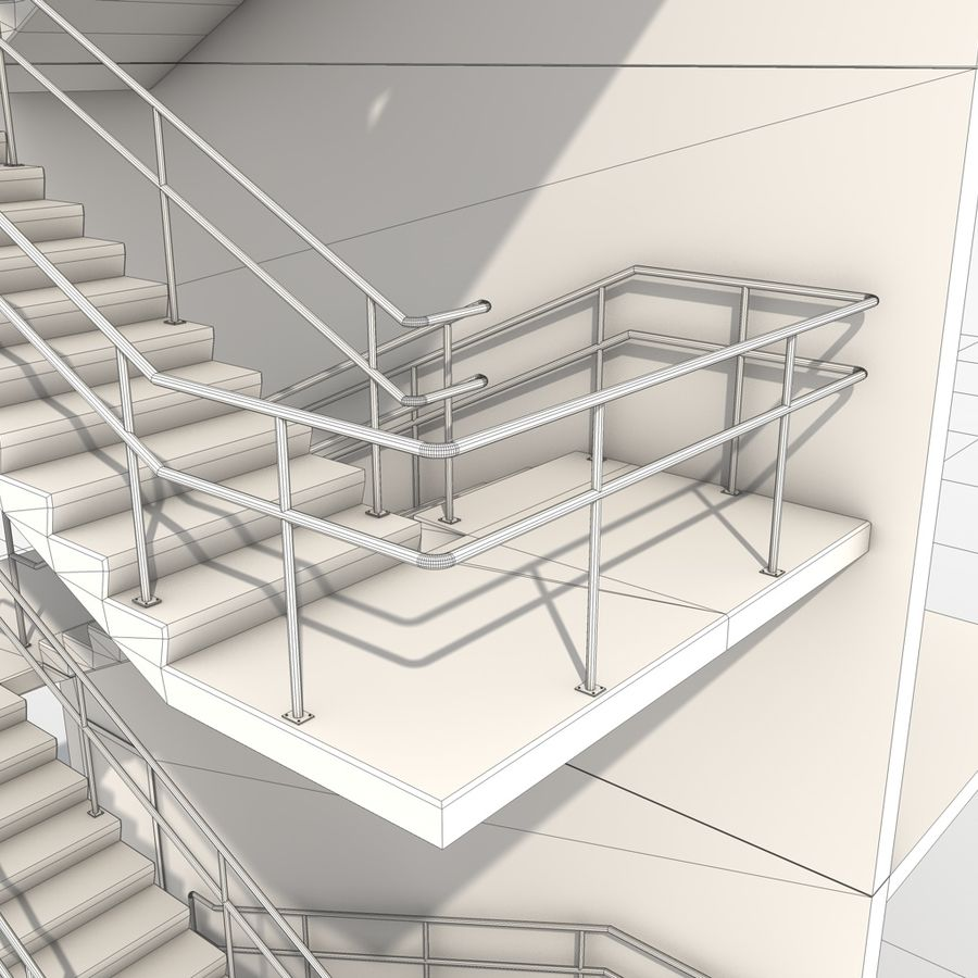 Emergency Stairs royalty-free 3d model - Preview no. 14