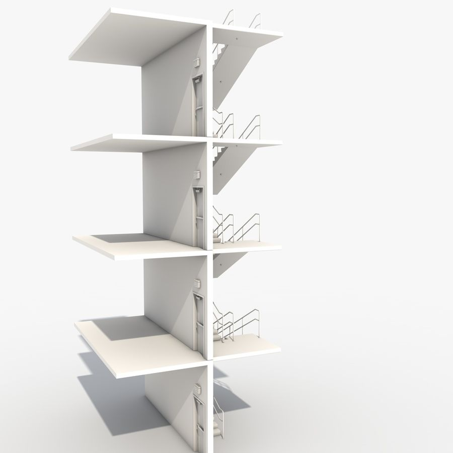 Emergency Stairs royalty-free 3d model - Preview no. 8