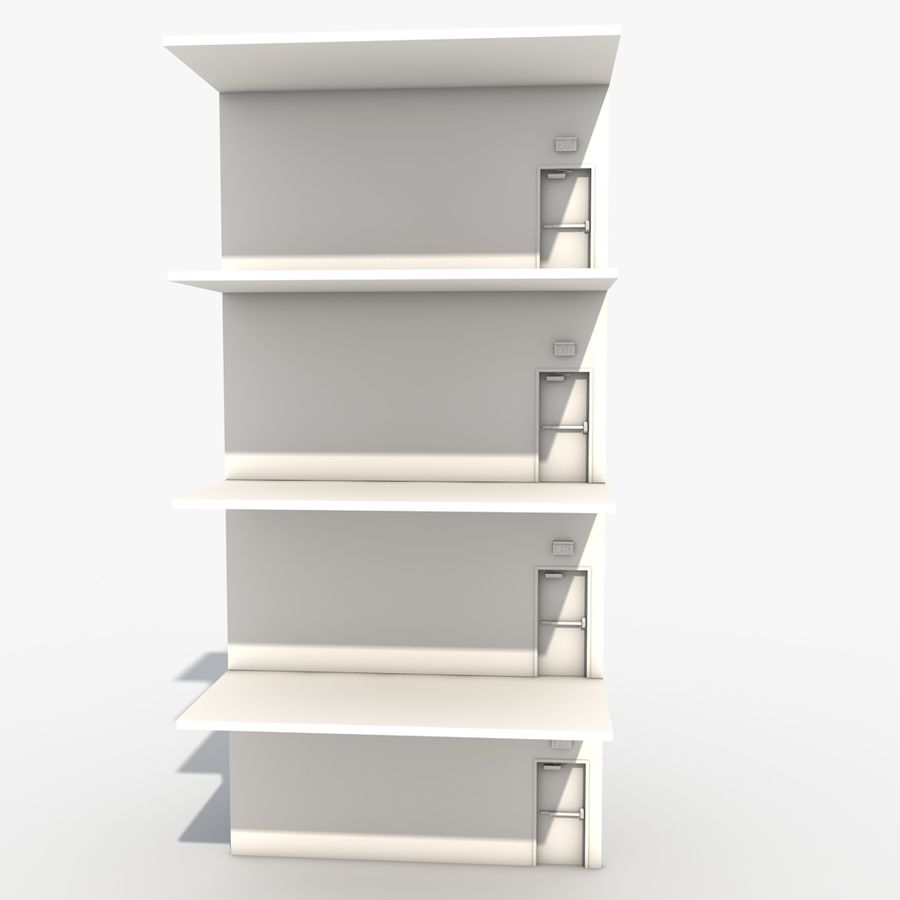Emergency Stairs royalty-free 3d model - Preview no. 6