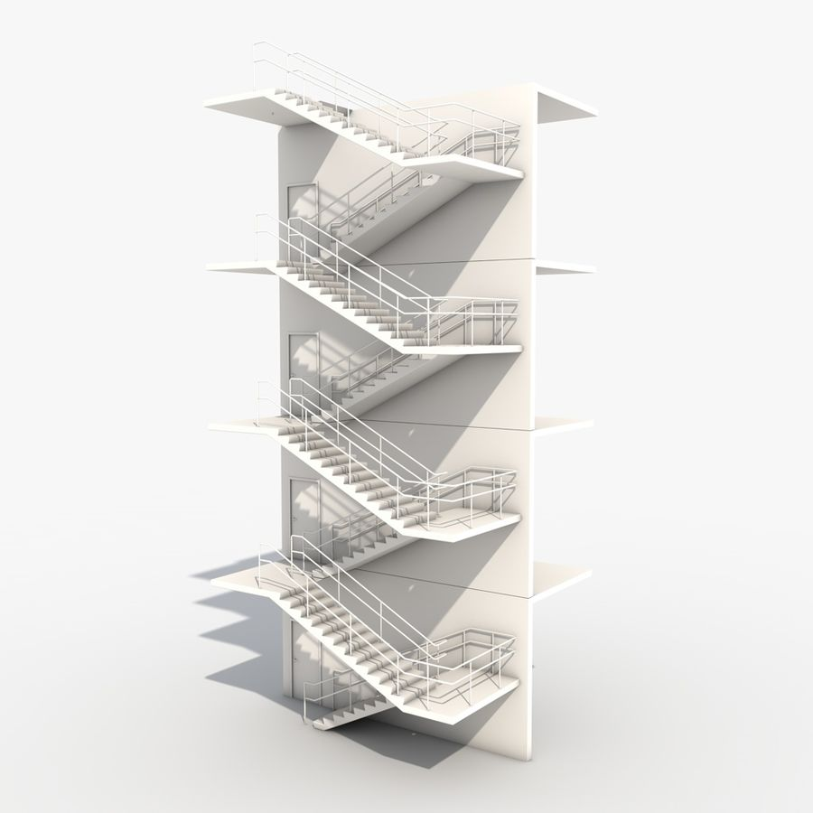 Emergency Stairs royalty-free 3d model - Preview no. 1