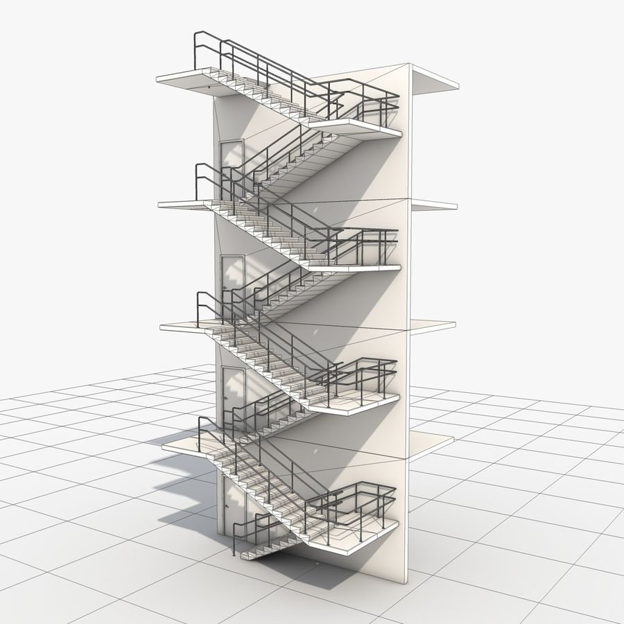 Emergency Stairs royalty-free 3d model - Preview no. 13