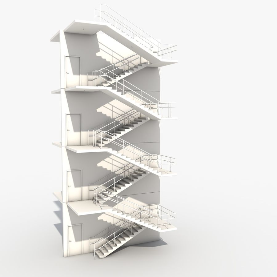 Emergency Stairs royalty-free 3d model - Preview no. 11