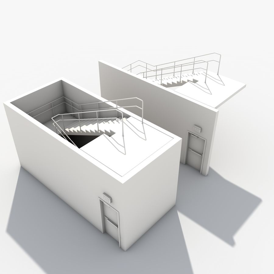 Emergency Stairs royalty-free 3d model - Preview no. 22