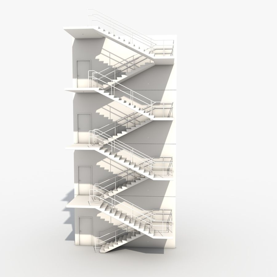 Emergency Stairs royalty-free 3d model - Preview no. 12