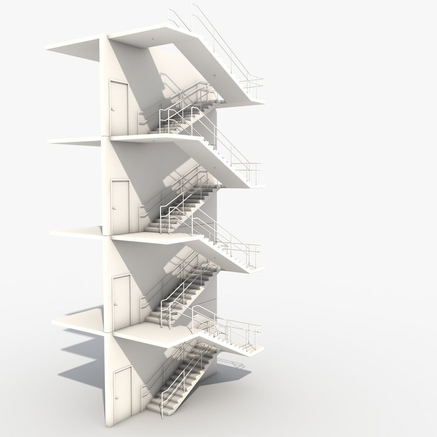 Emergency Stairs royalty-free 3d model - Preview no. 10
