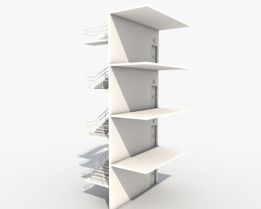 Acil durum merdivenleri royalty-free 3d model - Preview no. 4