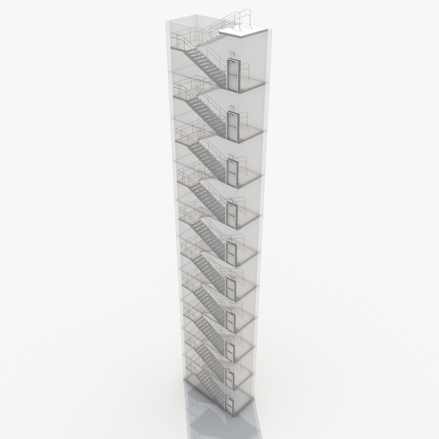 Emergency Stairs royalty-free 3d model - Preview no. 21