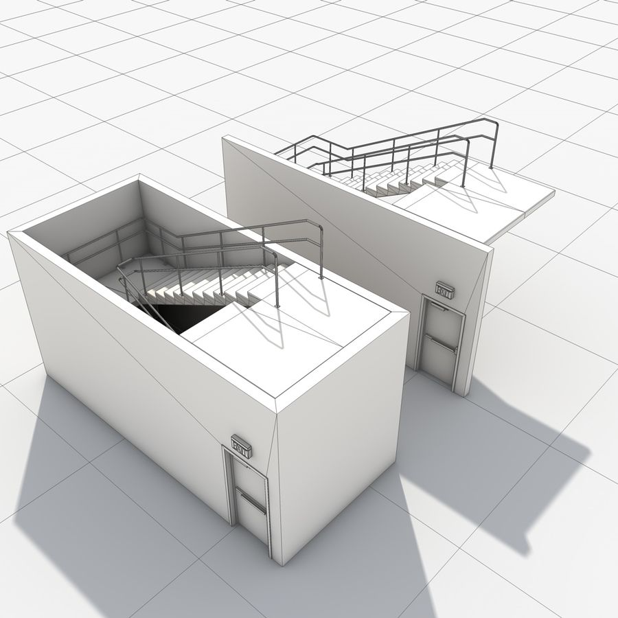 Emergency Stairs royalty-free 3d model - Preview no. 23