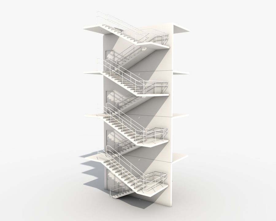 Acil durum merdivenleri royalty-free 3d model - Preview no. 1