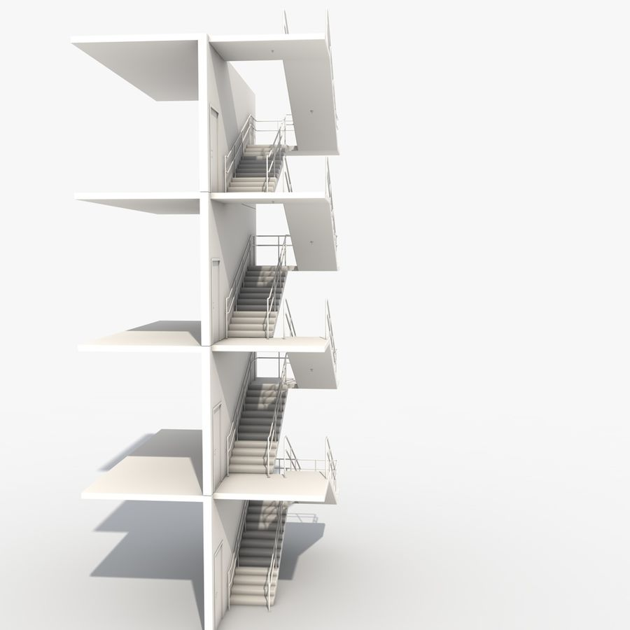 Emergency Stairs royalty-free 3d model - Preview no. 9
