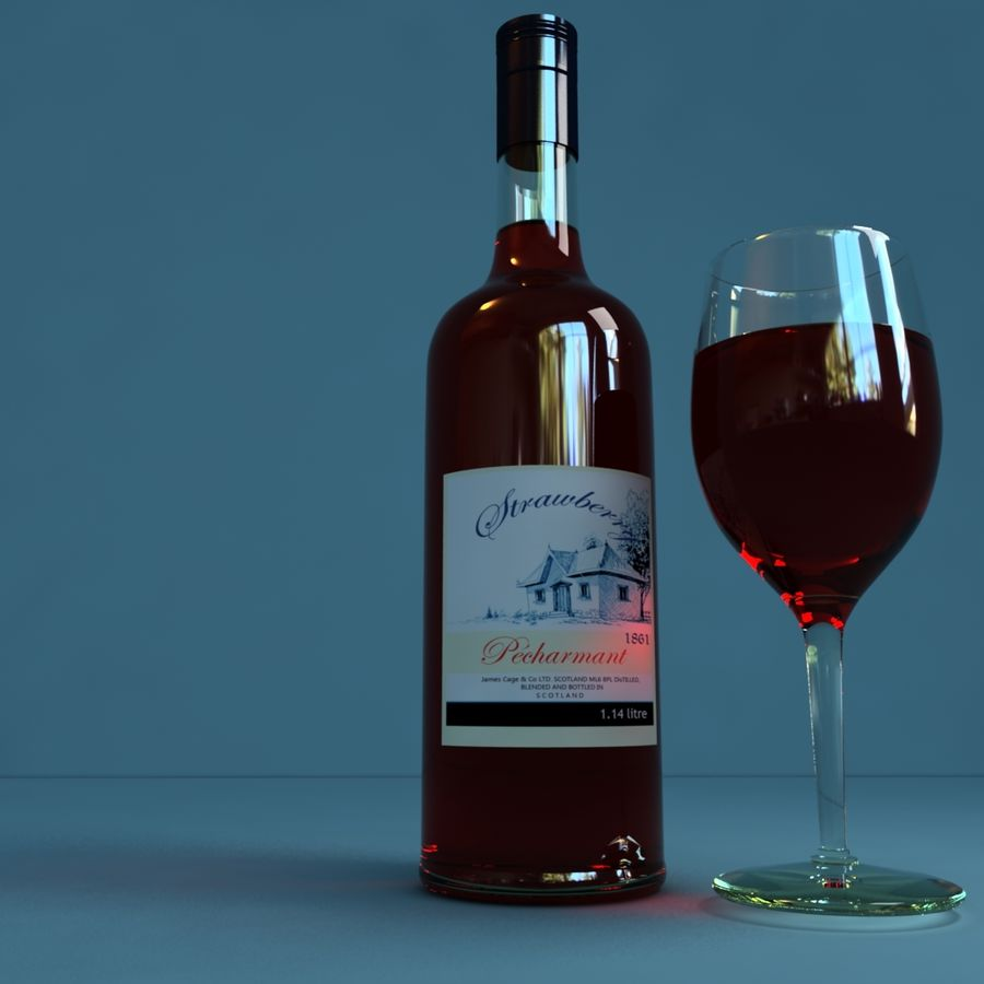 Wine Bottle and Wineglass royalty-free 3d model - Preview no. 4
