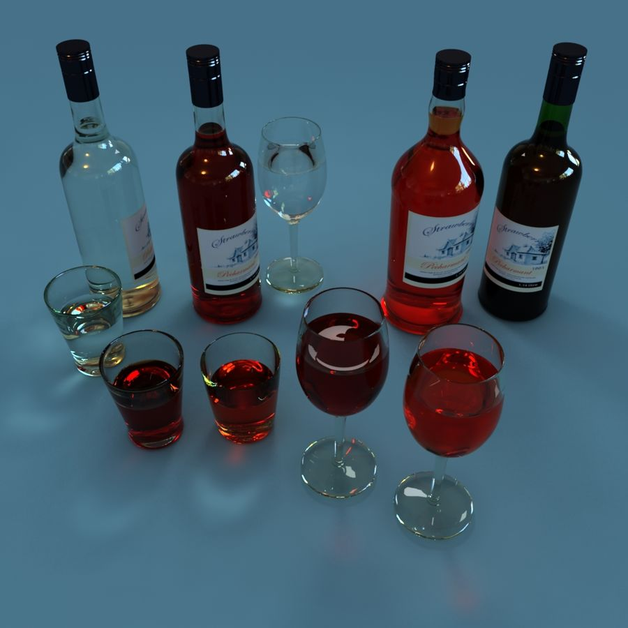 Wine Bottle and Wineglass royalty-free 3d model - Preview no. 2