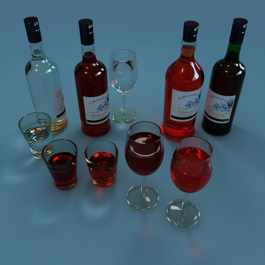 Bottiglia di vino e bicchiere da vino royalty-free 3d model - Preview no. 2
