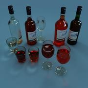 Wine Bottle and Wineglass 3d model