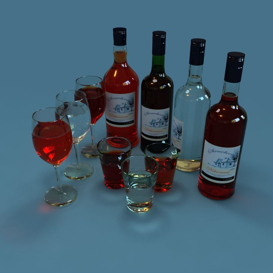 Wine Bottle and Wineglass royalty-free 3d model - Preview no. 1