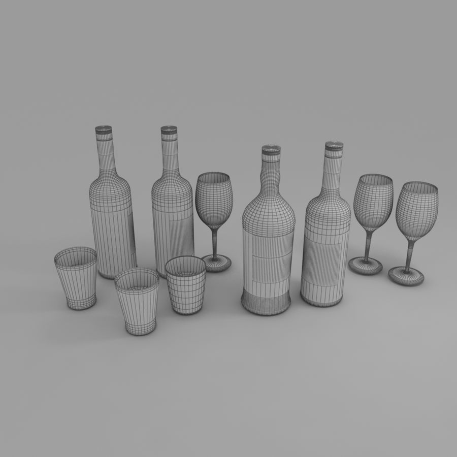 Wine Bottle and Wineglass royalty-free 3d model - Preview no. 6