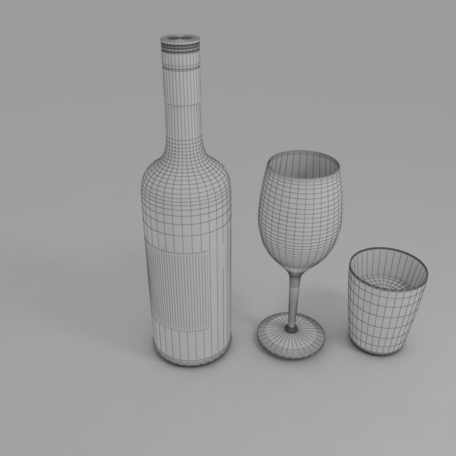 Wine Bottle and Wineglass royalty-free 3d model - Preview no. 5