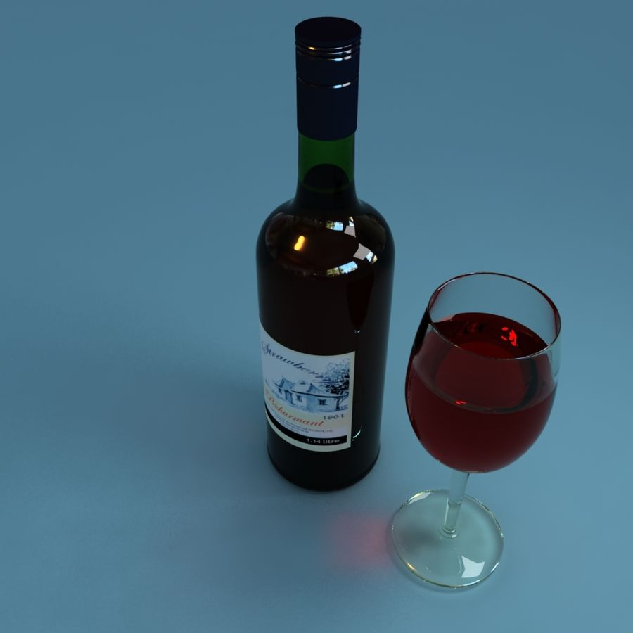 Wine Bottle and Wineglass royalty-free 3d model - Preview no. 3