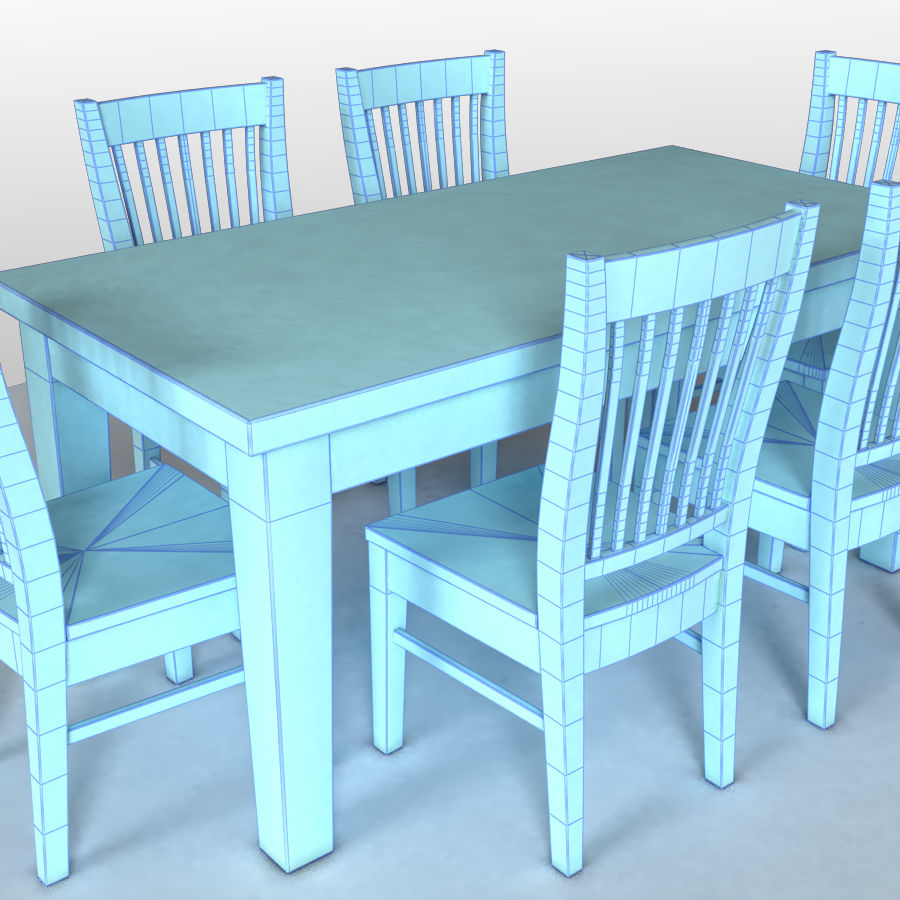 Dining Table & 6 Chairs (vray) 3D Model $18 - .obj .max .3ds .oth ...