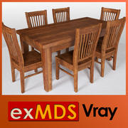 Dining Table & 6 Chairs (vray) 3d model