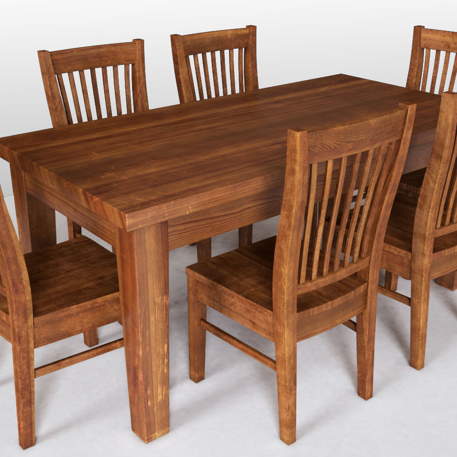 Dining Table & 6 Chairs (vray) 3D Model $18
