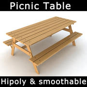 Picnic Table with Attached Benches 3d model