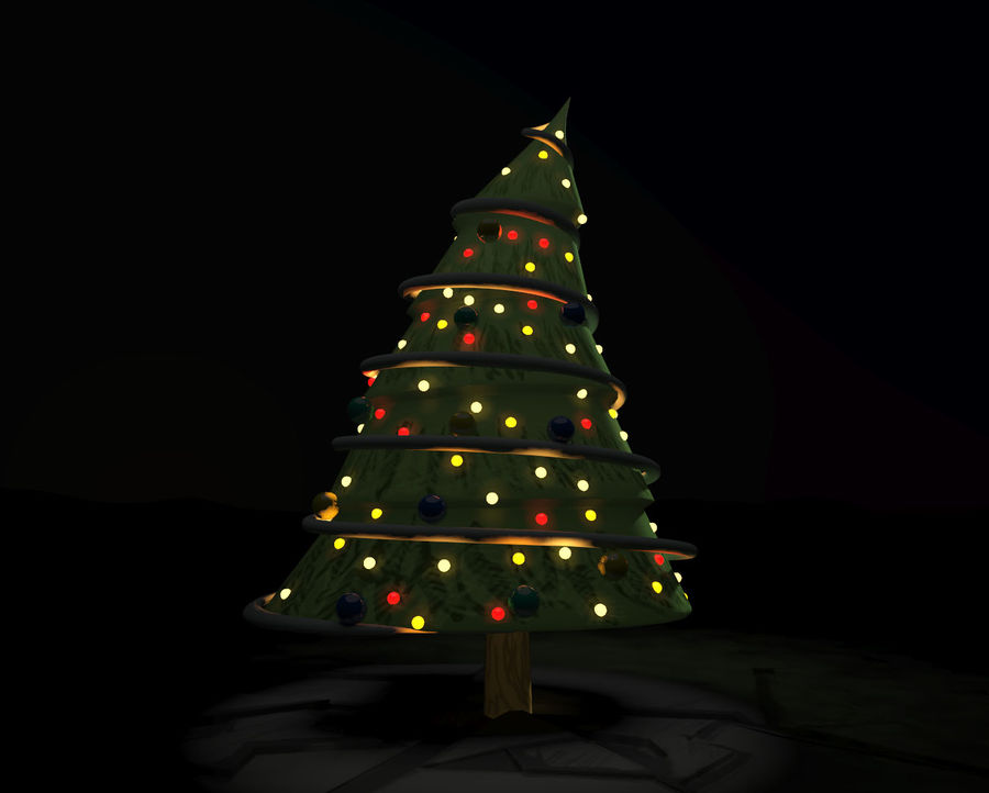 christmas tree comic royalty-free 3d model - Preview no. 2