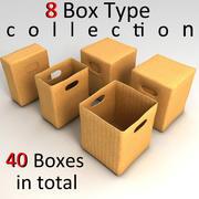 papierowe pudełka teksturowane 3d model