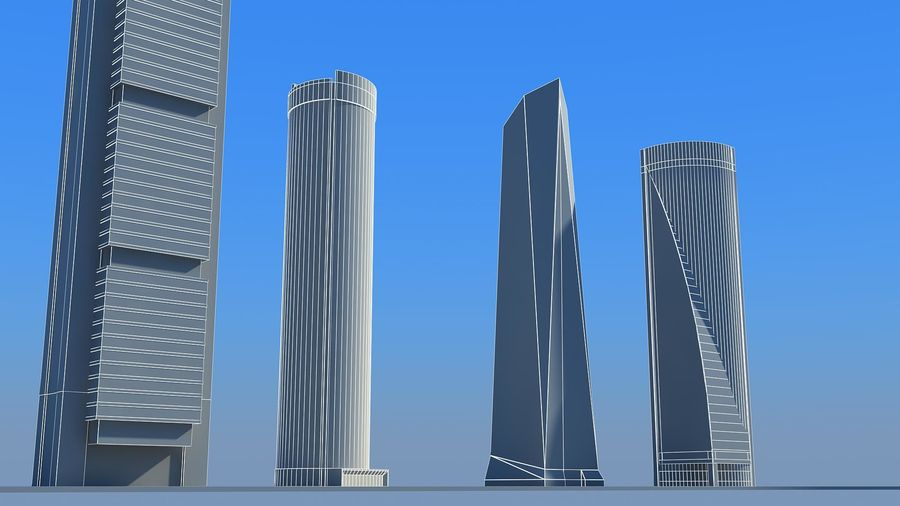 Madrid towers royalty-free 3d model - Preview no. 4
