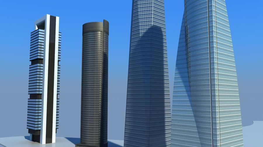Madrid towers royalty-free 3d model - Preview no. 8