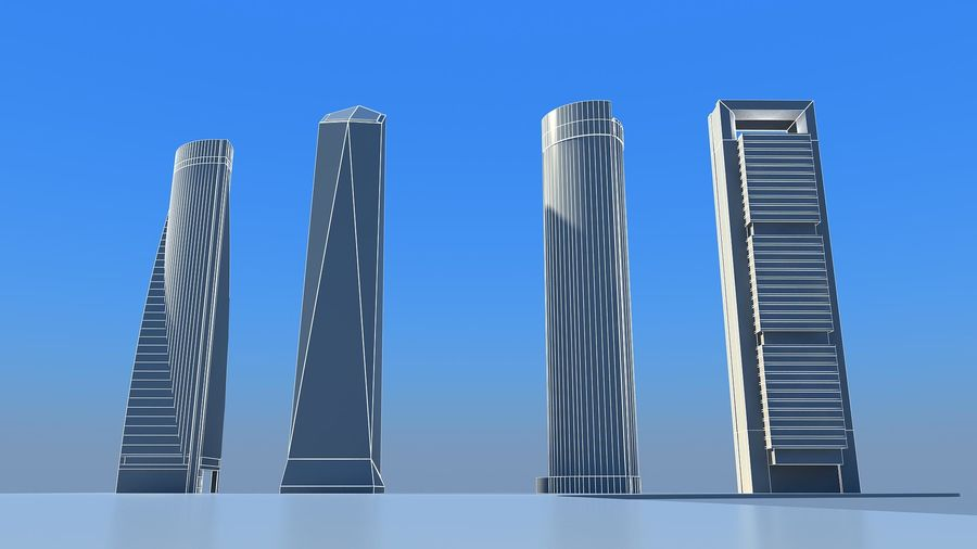 Madrid towers royalty-free 3d model - Preview no. 5