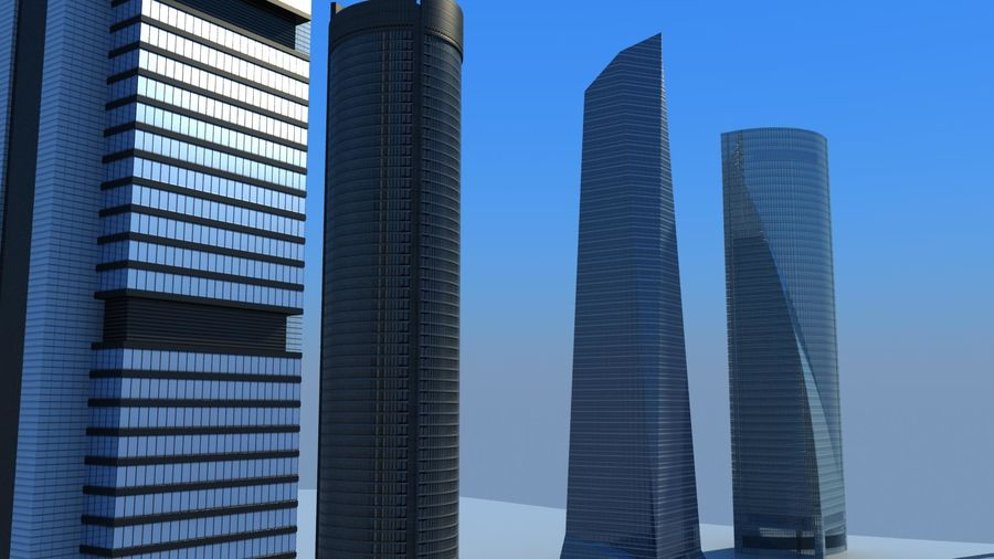 Madrid towers royalty-free 3d model - Preview no. 7