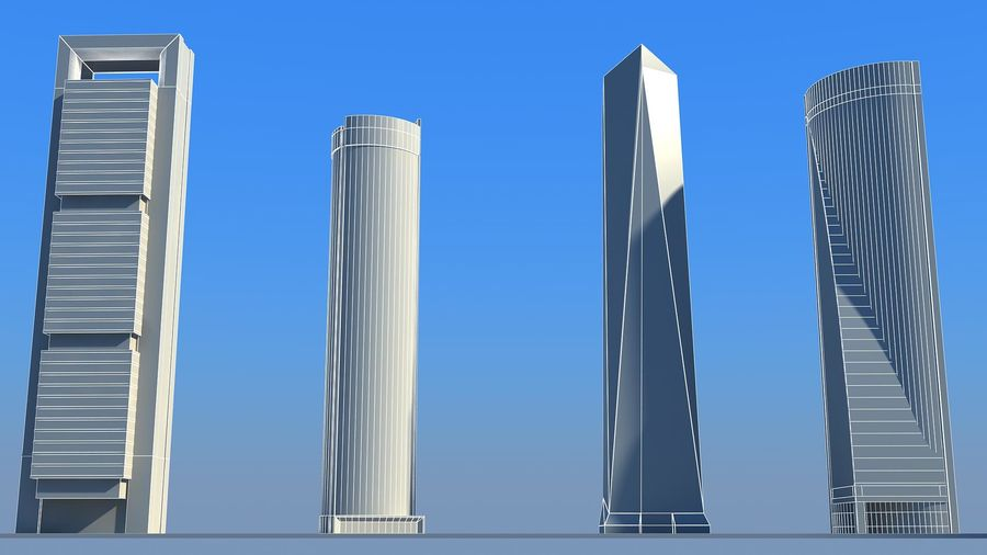 Madrid towers royalty-free 3d model - Preview no. 3