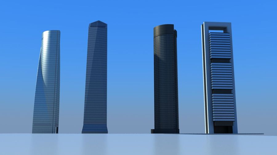 Madrid towers royalty-free 3d model - Preview no. 6