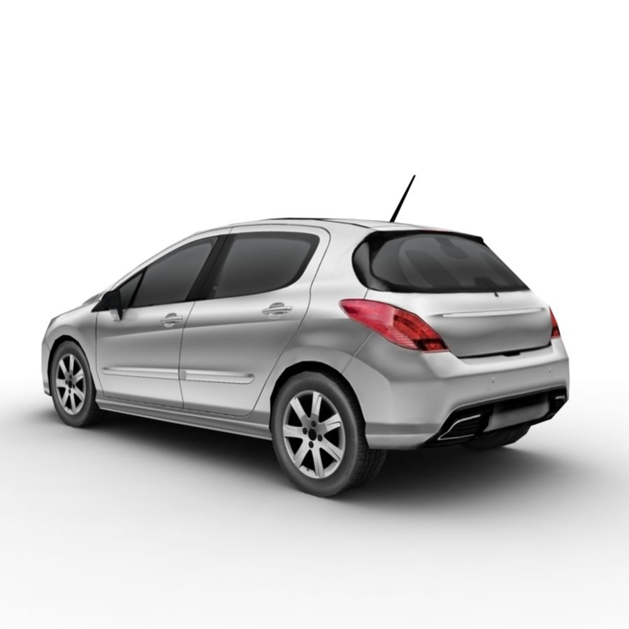 Peugeot 308 (2012) royalty-free 3d model - Preview no. 2