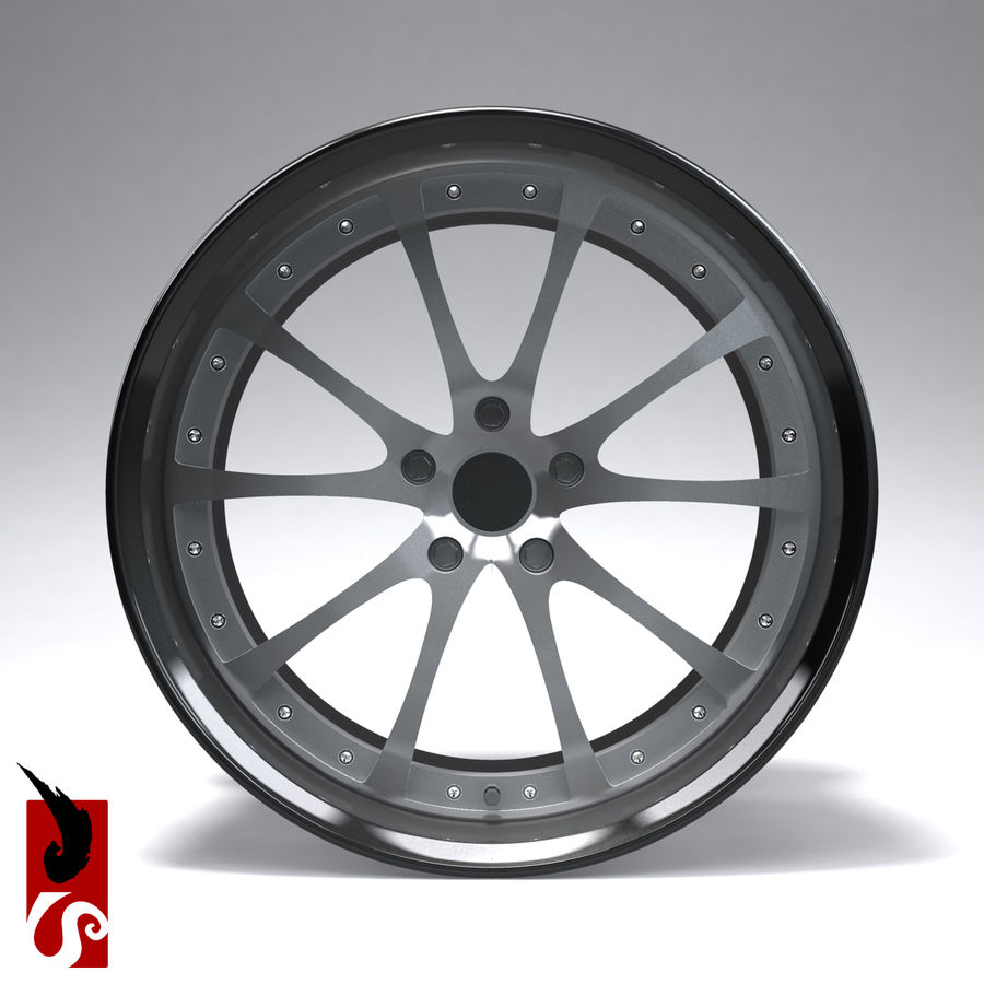原型B赛车轮圈 royalty-free 3d model - Preview no. 4