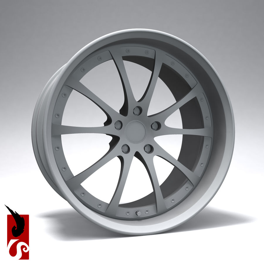 原型B赛车轮圈 royalty-free 3d model - Preview no. 8