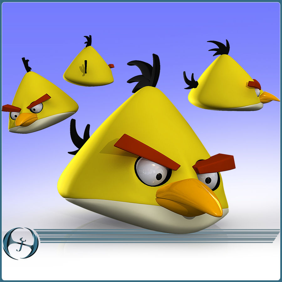 Angry Birds (Yellow) royalty-free 3d model - Preview no. 2