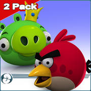 2Pack: Angry Birds (Pig King & Red) 3d model