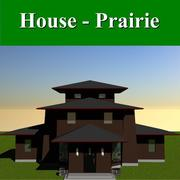 Prairie Style Square House 3d model